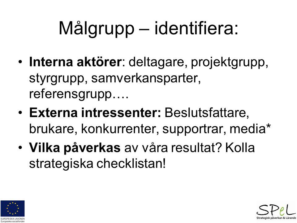 Målgrupp – identifiera: