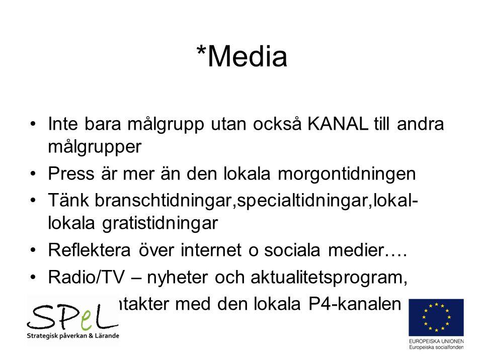 *Media Inte bara målgrupp utan också KANAL till andra målgrupper