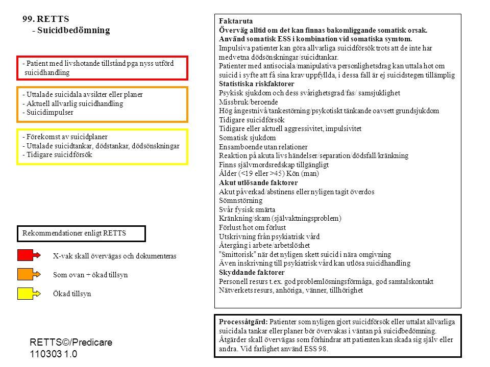 99. RETTS - Suicidbedömning RETTS©/Predicare 110303 1.0 Faktaruta