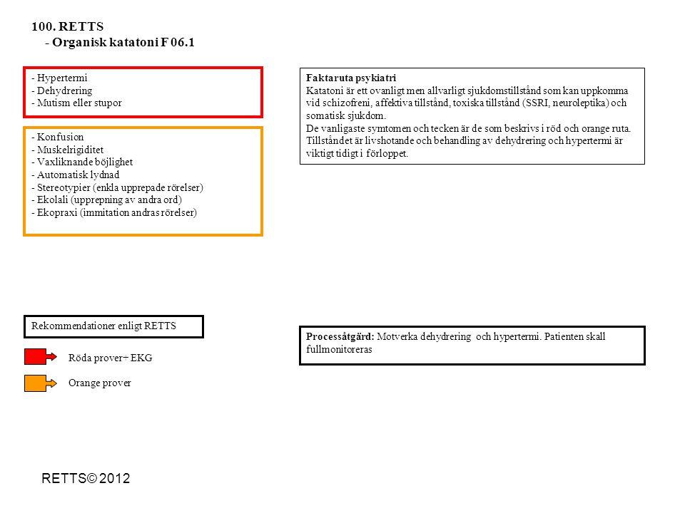100. RETTS - Organisk katatoni F 06.1 RETTS© 2012 - Hypertermi
