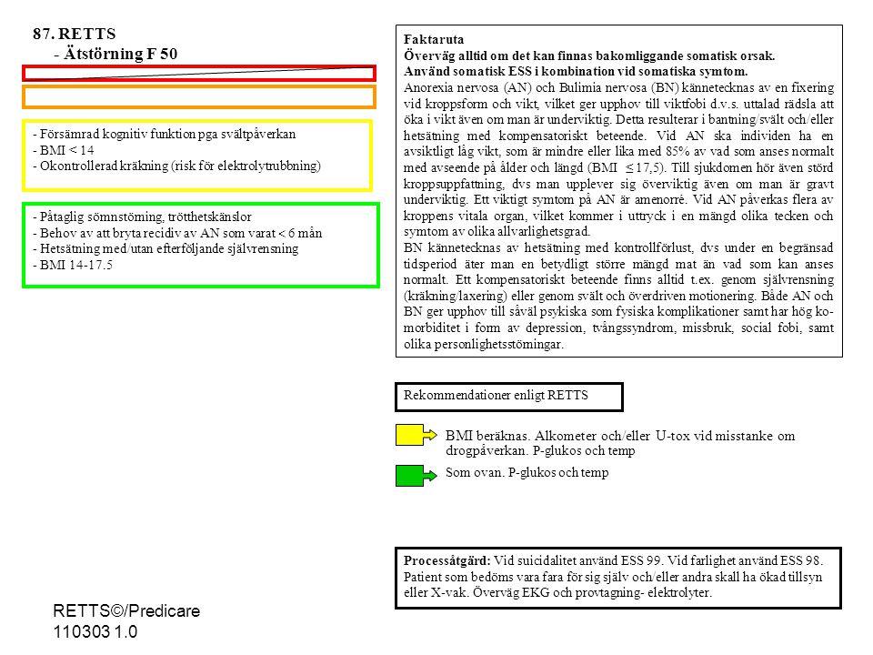 87. RETTS - Ätstörning F 50 RETTS©/Predicare 110303 1.0