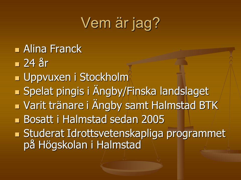 Vem är jag Alina Franck 24 år Uppvuxen i Stockholm