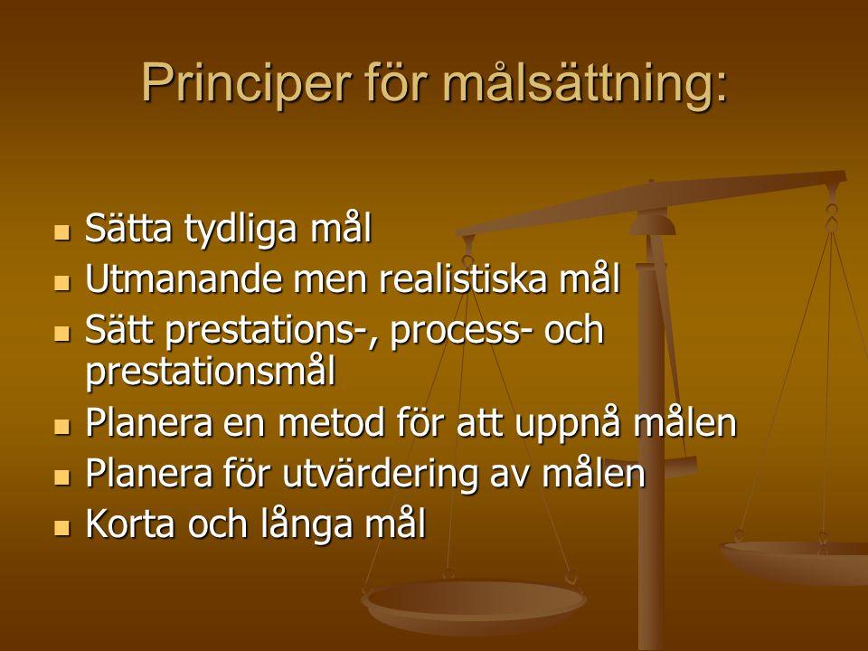 Principer för målsättning: