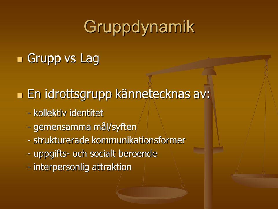 Gruppdynamik Grupp vs Lag En idrottsgrupp kännetecknas av: