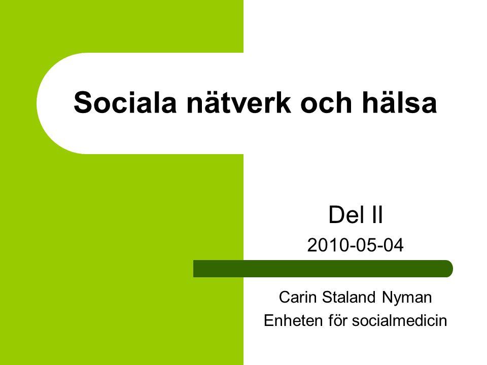 Sociala nätverk och hälsa