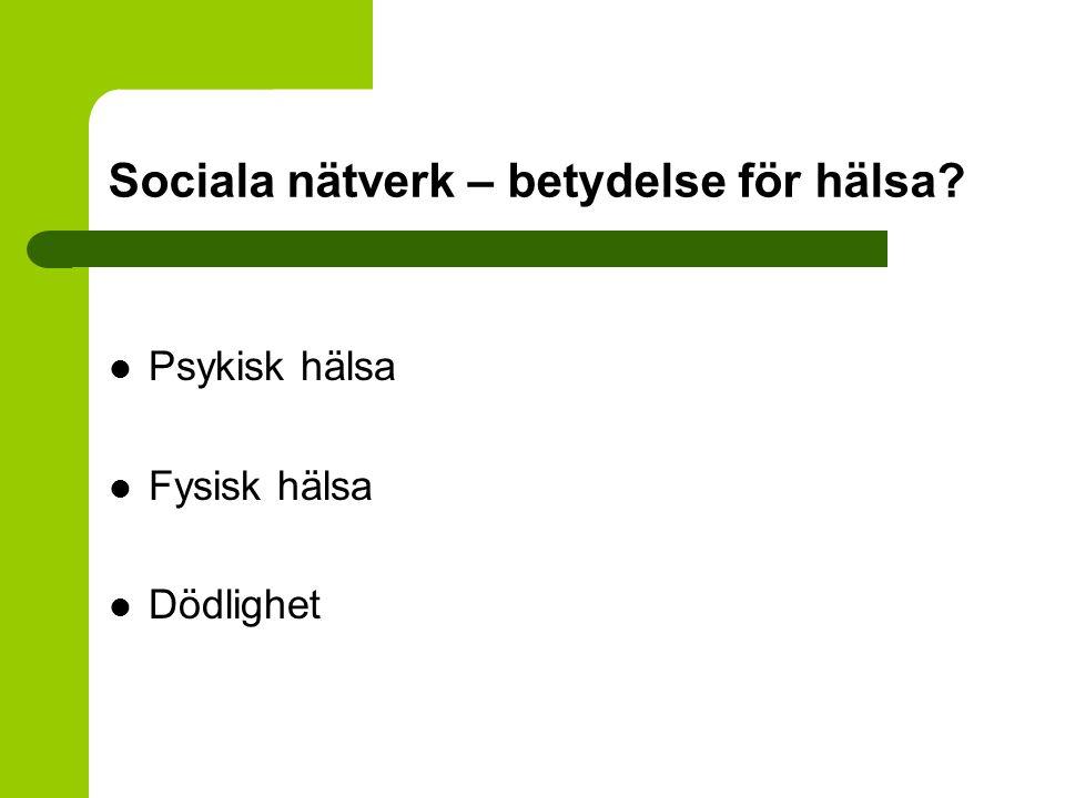 Sociala nätverk – betydelse för hälsa