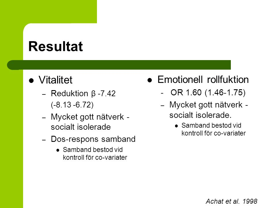 Resultat Vitalitet Emotionell rollfuktion Reduktion β -7.42