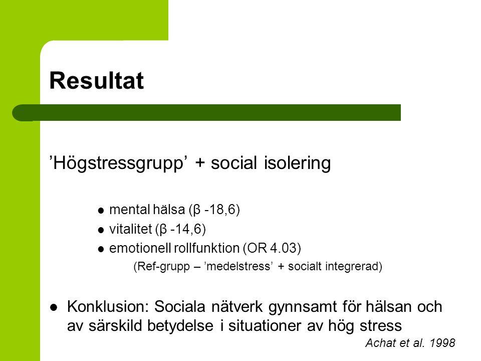 Resultat 'Högstressgrupp' + social isolering