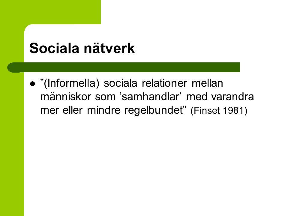 Sociala nätverk (Informella) sociala relationer mellan människor som 'samhandlar' med varandra mer eller mindre regelbundet (Finset 1981)