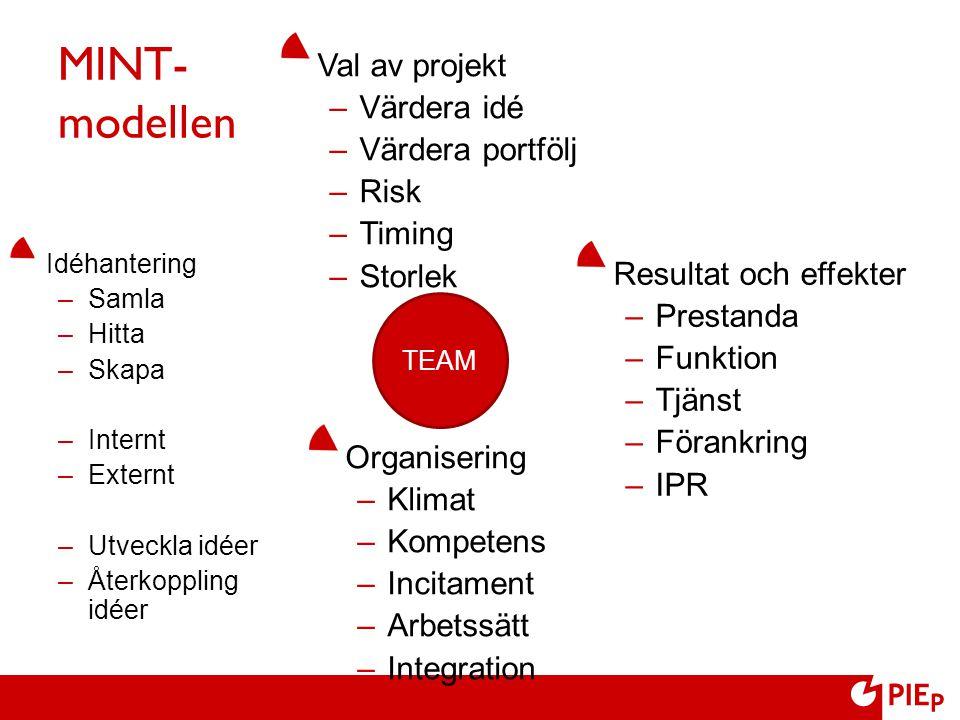 MINT- modellen Val av projekt Värdera idé Värdera portfölj Risk Timing