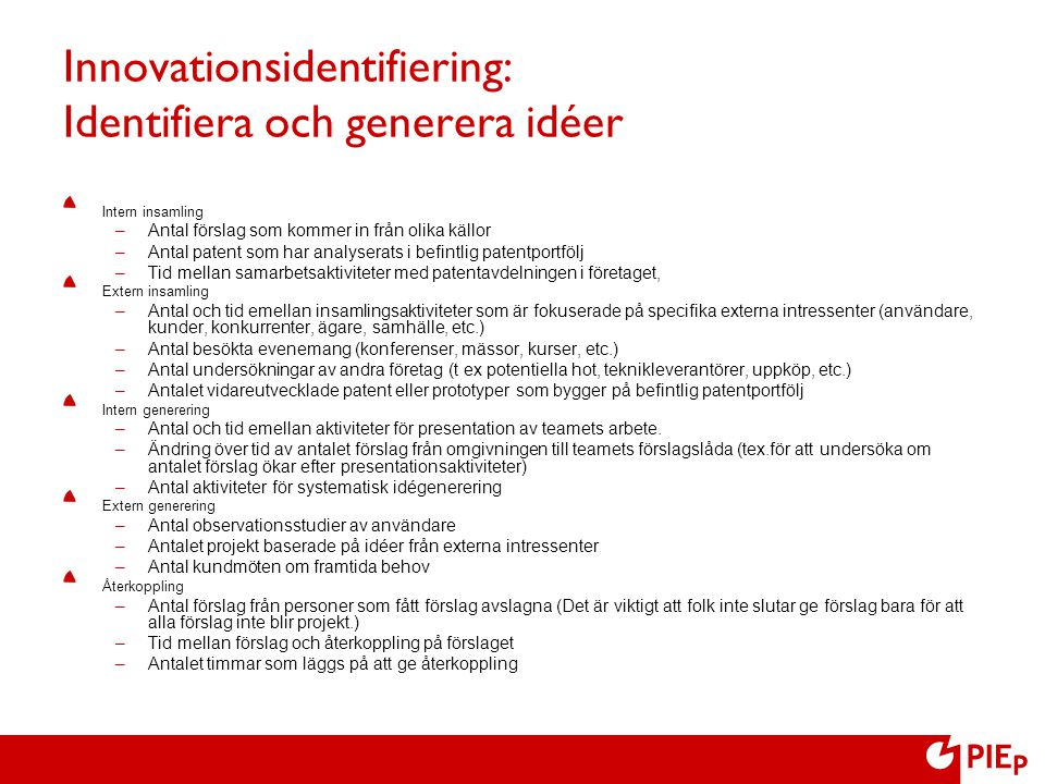 Innovationsidentifiering: Identifiera och generera idéer