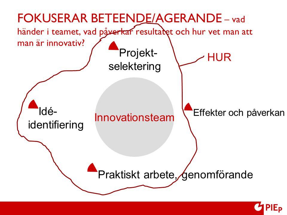 FOKUSERAR BETEENDE/AGERANDE – vad händer i teamet, vad påverkar resultatet och hur vet man att man är innovativ