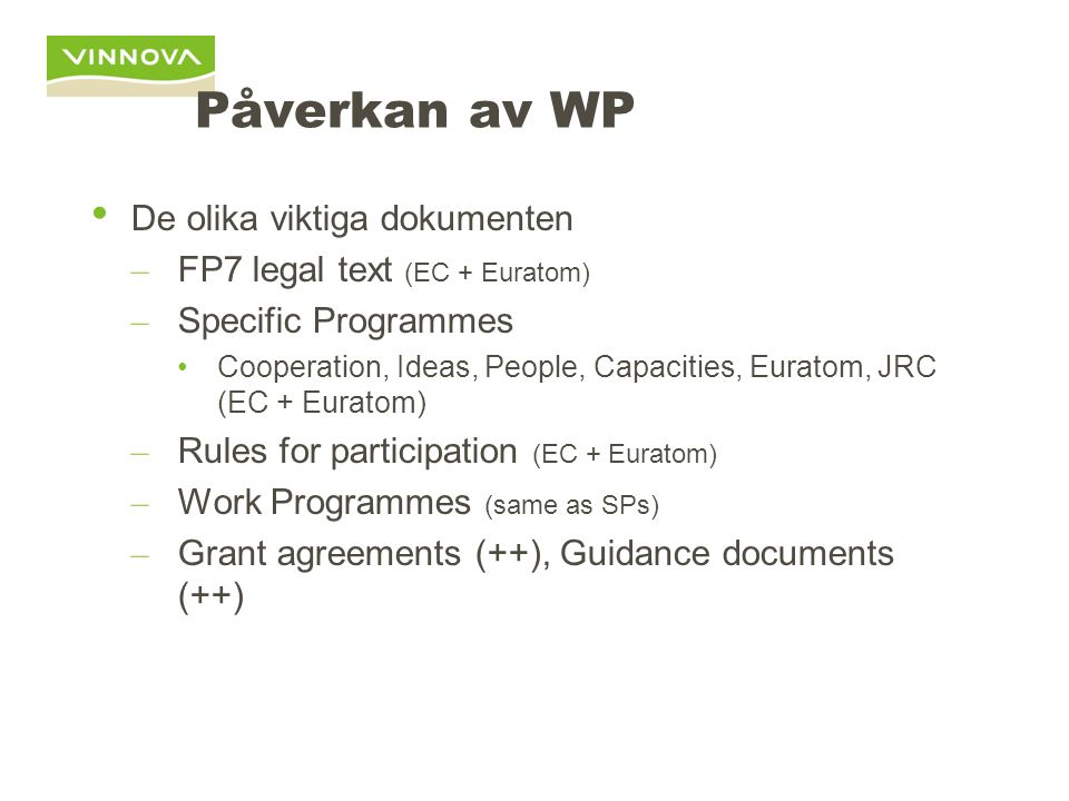The documents for the framework programmes