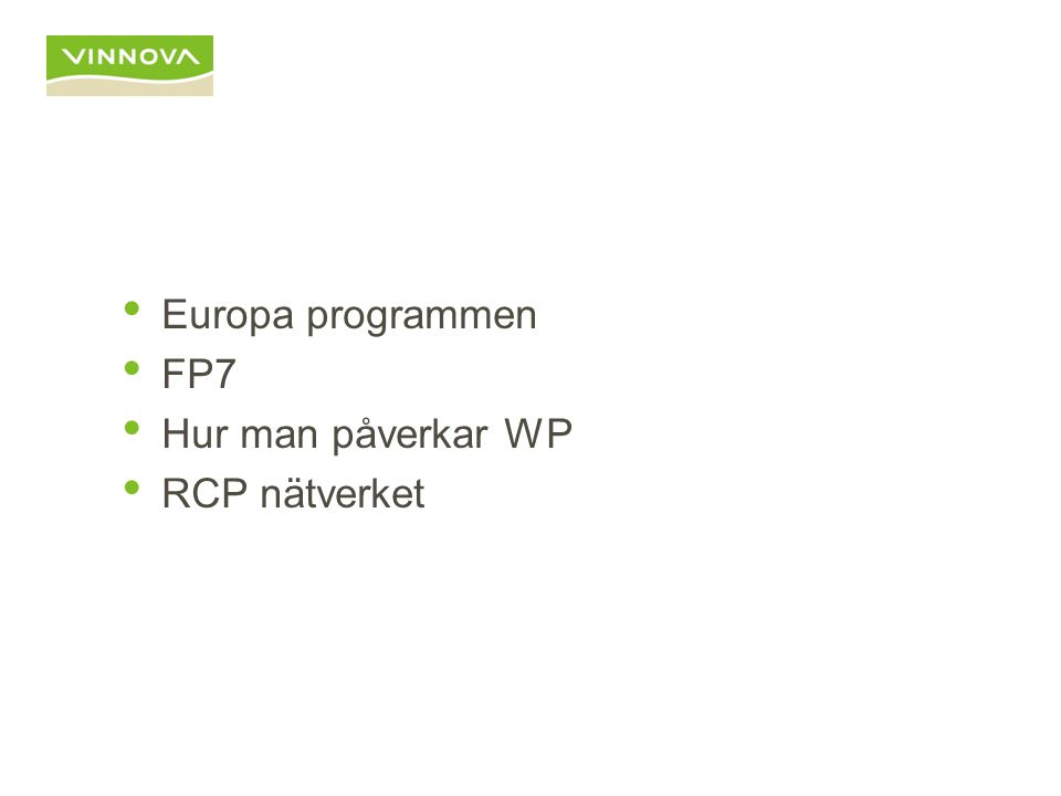 Europaprogrammen / VINNOVA