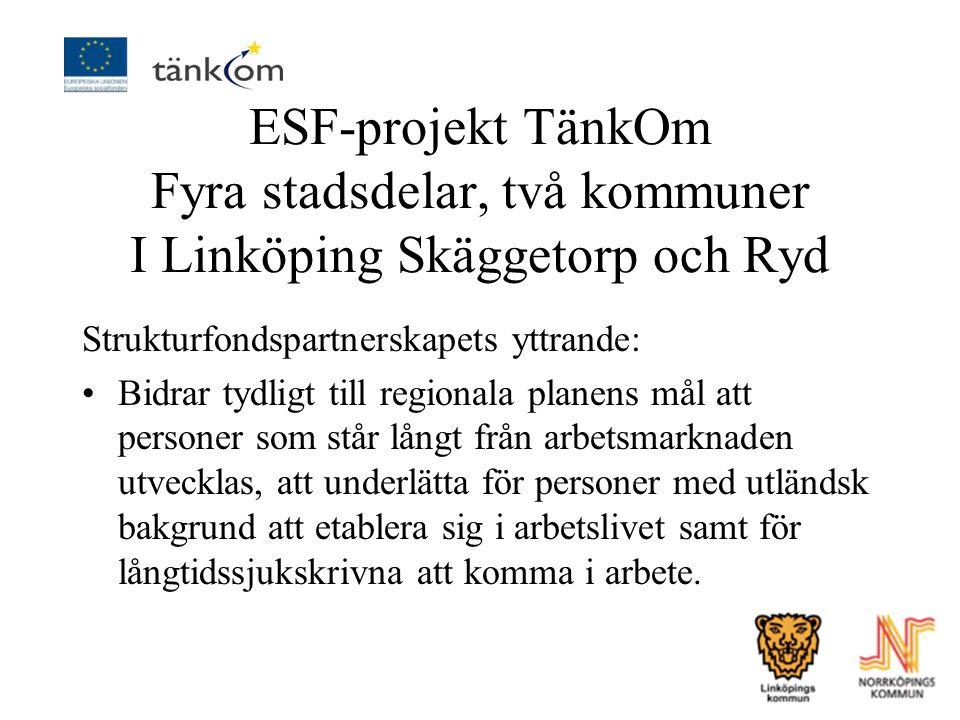 ESF-projekt TänkOm Fyra stadsdelar, två kommuner I Linköping Skäggetorp och Ryd