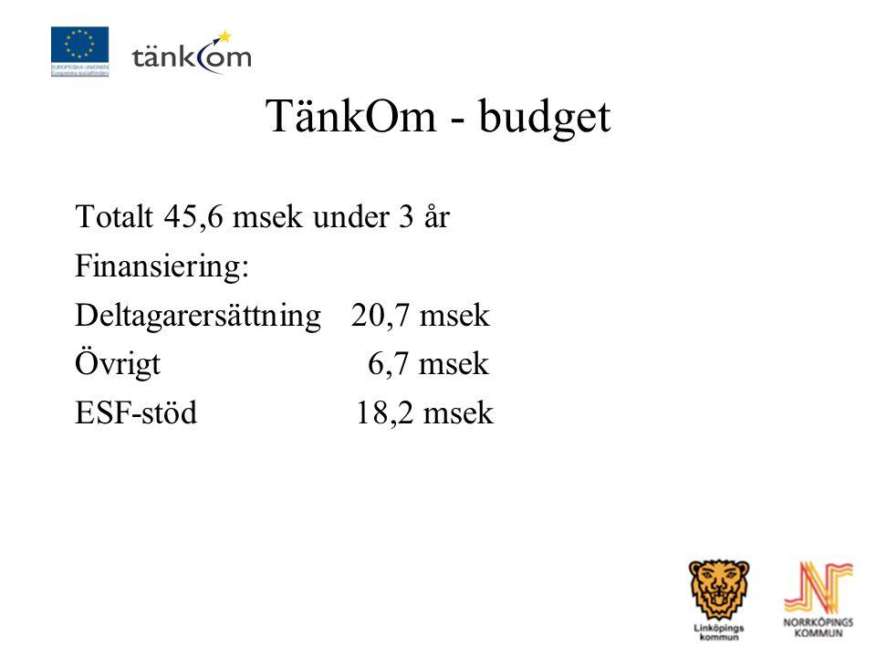 TänkOm - budget Totalt 45,6 msek under 3 år Finansiering: