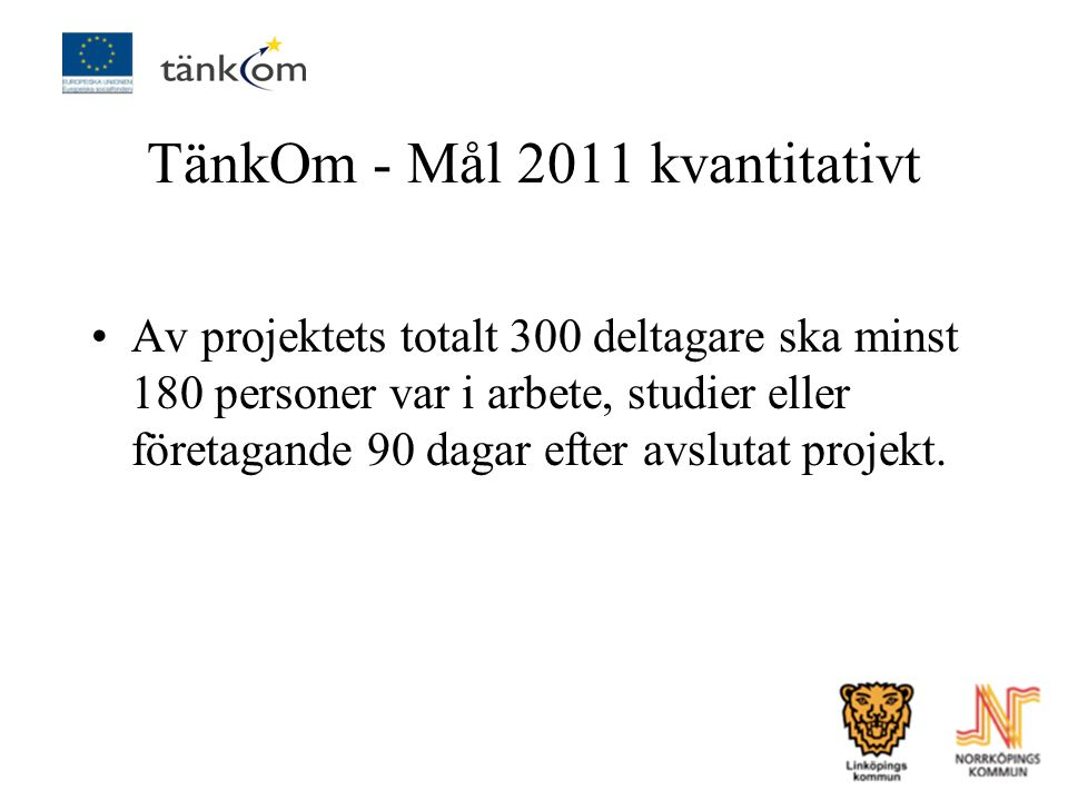 TänkOm - Mål 2011 kvantitativt
