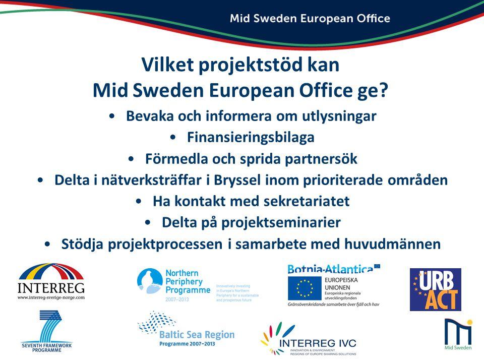 Vilket projektstöd kan Mid Sweden European Office ge
