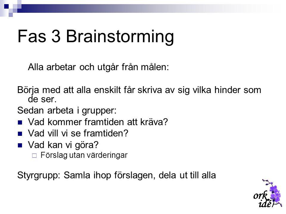 Fas 3 Brainstorming Alla arbetar och utgår från målen: