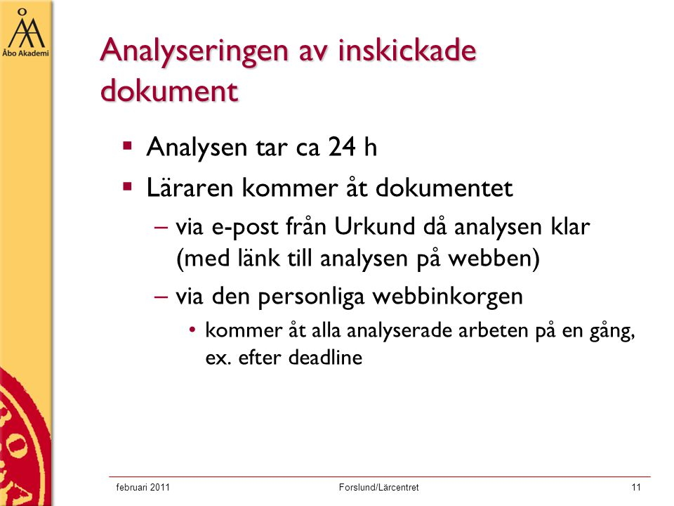 Analyseringen av inskickade dokument