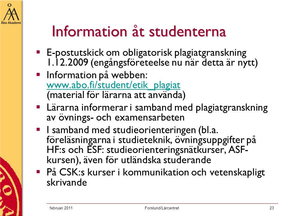 Information åt studenterna