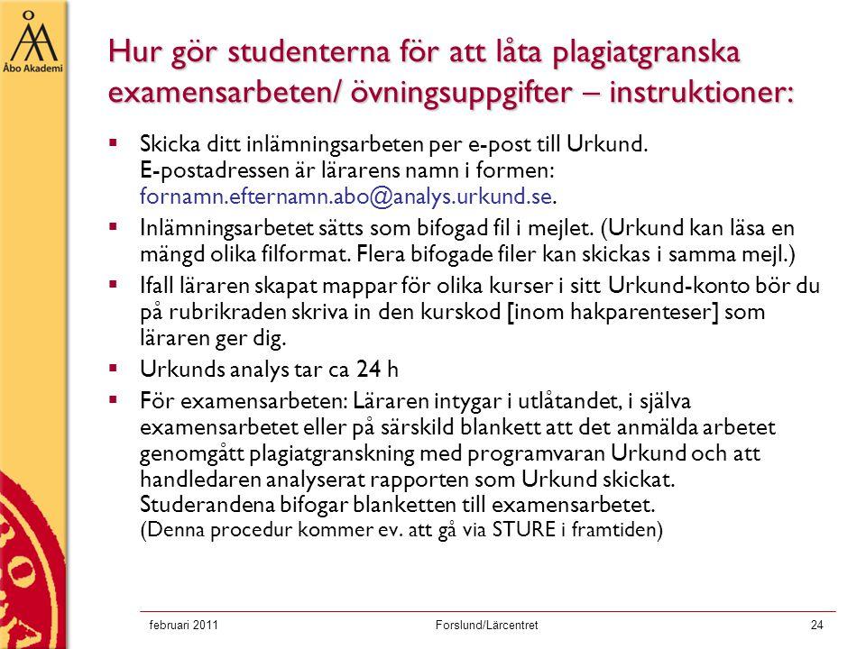 Hur gör studenterna för att låta plagiatgranska examensarbeten/ övningsuppgifter – instruktioner: