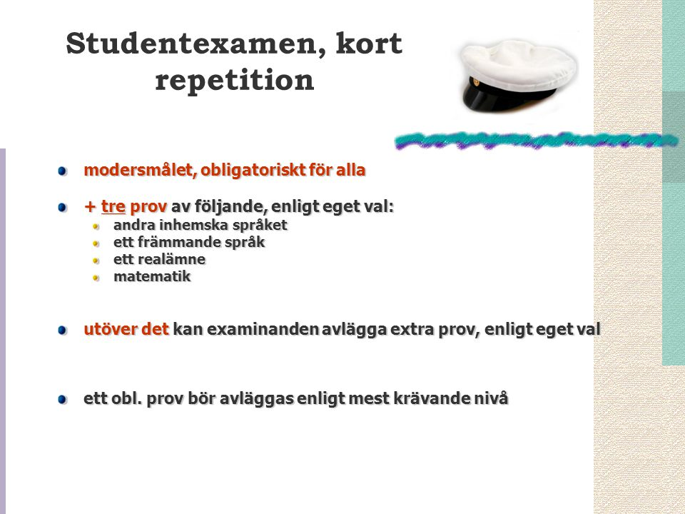 Studentexamen, kort repetition