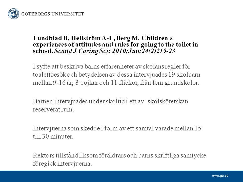 Lundblad B, Hellström A-L, Berg M