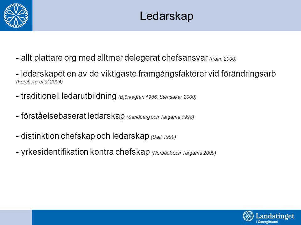 Ledarskap allt plattare org med alltmer delegerat chefsansvar (Palm 2000)