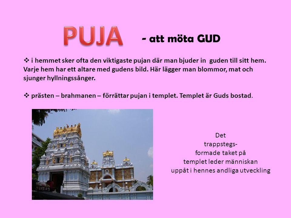 PUJA - att möta GUD. i hemmet sker ofta den viktigaste pujan där man bjuder in guden till sitt hem.