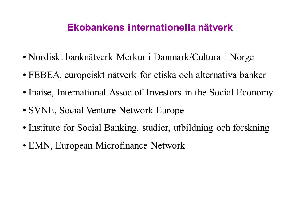 Ekobankens internationella nätverk