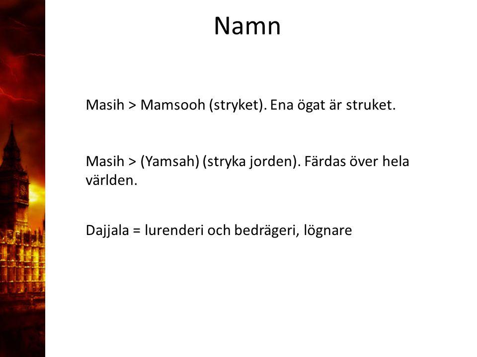 3. Delandet av månen Namn. Masih > Mamsooh (stryket). Ena ögat är struket. Masih > (Yamsah) (stryka jorden). Färdas över hela världen.