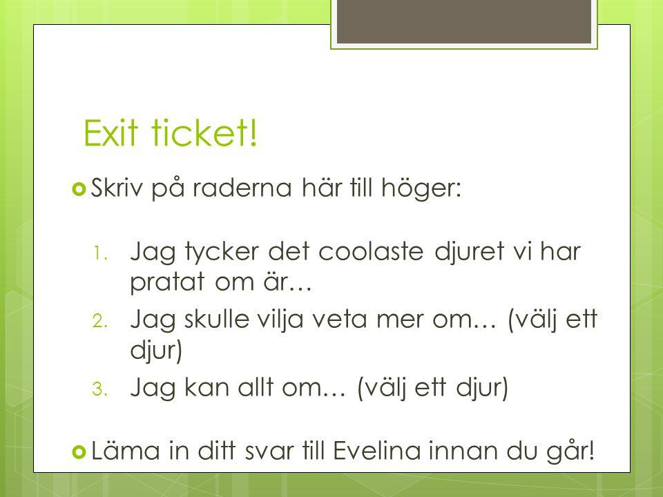 Exit ticket! Skriv på raderna här till höger: