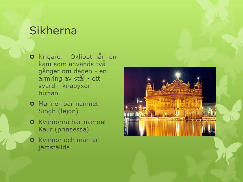 Sikherna Krigare: - Oklippt hår -en kam som används två gånger om dagen - en armring av stål - ett svärd - knäbyxor – turban.