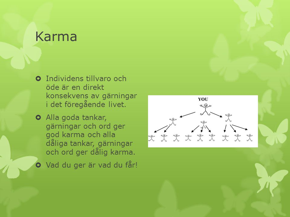 Karma Individens tillvaro och öde är en direkt konsekvens av gärningar i det föregående livet.