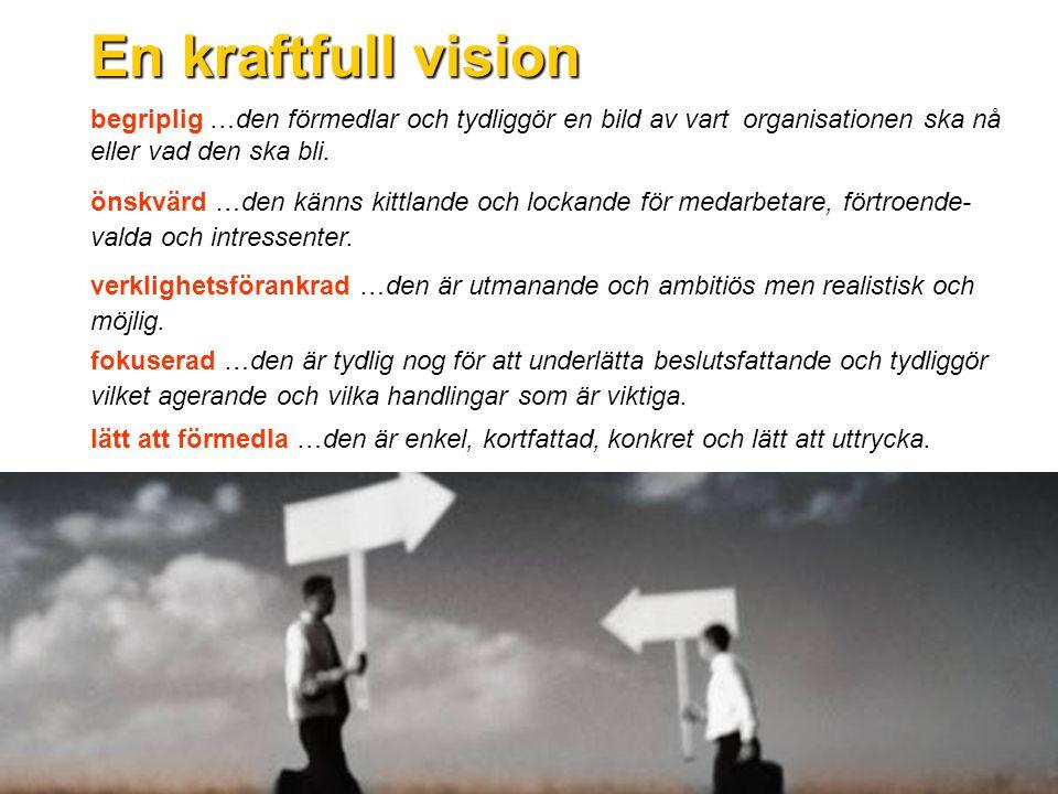En kraftfull vision begriplig …den förmedlar och tydliggör en bild av vart organisationen ska nå eller vad den ska bli.