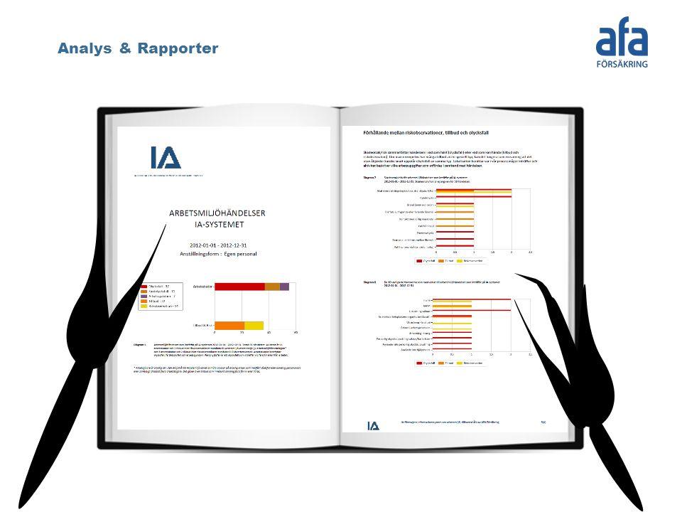 Analys & Rapporter Genom några knapptryck kan avancerade analyser på hela branschens, det enskilda företagets eller den egna enhetens data utföras.