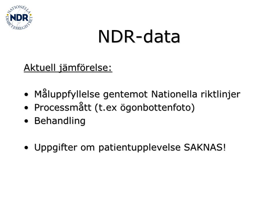 NDR-data Aktuell jämförelse:
