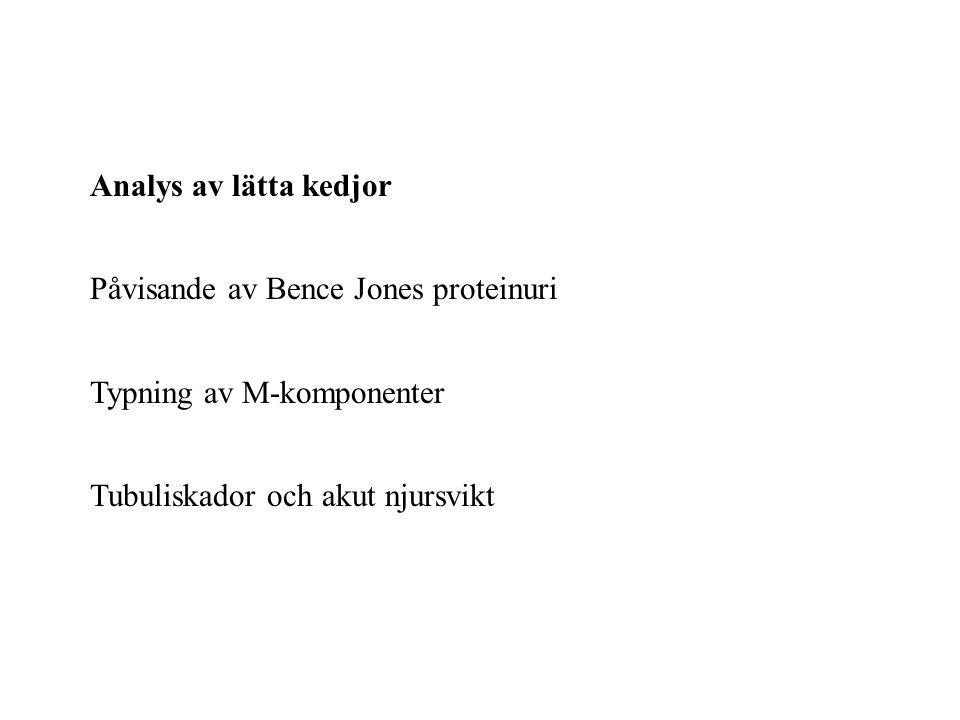 Analys av lätta kedjor Påvisande av Bence Jones proteinuri.