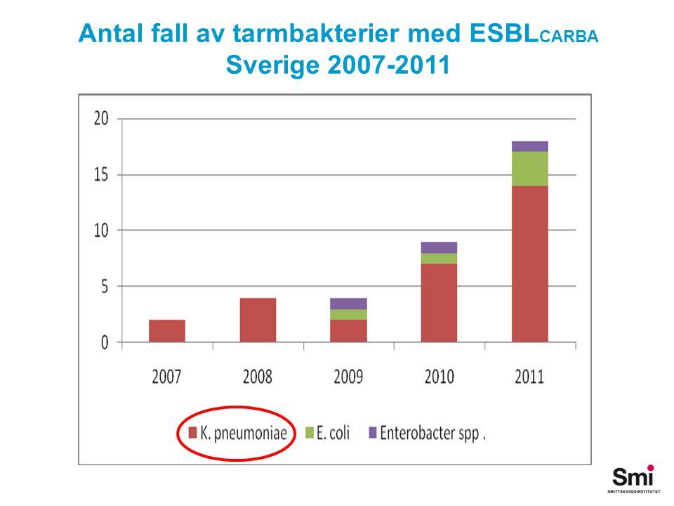Antal fall av tarmbakterier med ESBLCARBA