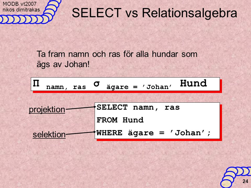 SELECT vs Relationsalgebra
