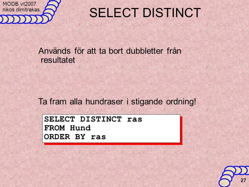 SELECT DISTINCT Används för att ta bort dubbletter från resultatet