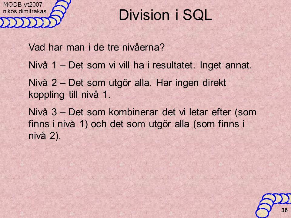 Division i SQL Vad har man i de tre nivåerna