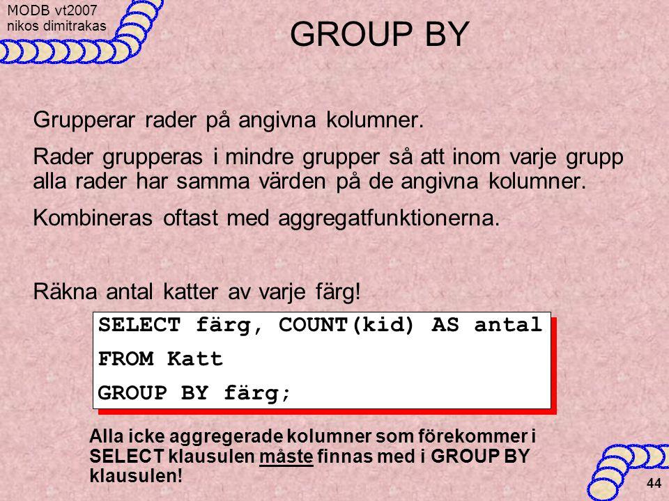 GROUP BY Grupperar rader på angivna kolumner.