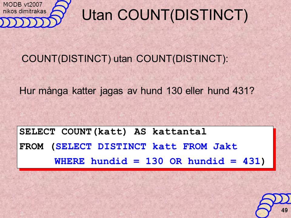 Utan COUNT(DISTINCT) COUNT(DISTINCT) utan COUNT(DISTINCT):