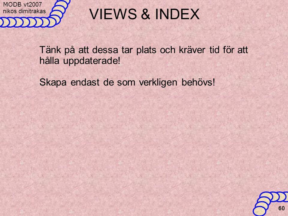 VIEWS & INDEX Tänk på att dessa tar plats och kräver tid för att hålla uppdaterade.