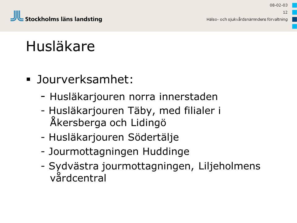 Husläkare Jourverksamhet: - Husläkarjouren norra innerstaden