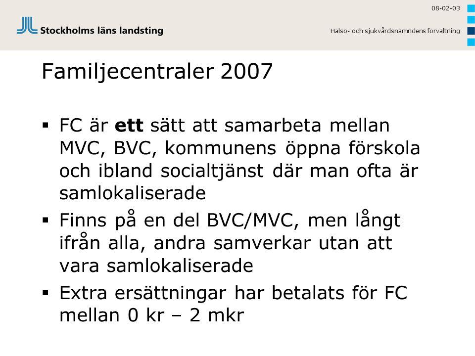 08-02-03 Hälso- och sjukvårdsnämndens förvaltning. Familjecentraler 2007.