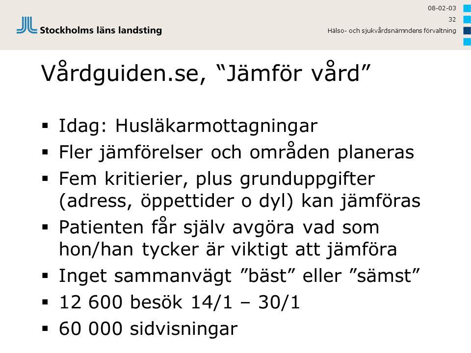 Vårdguiden.se, Jämför vård
