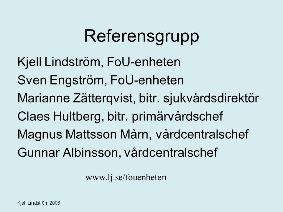Referensgrupp Kjell Lindström, FoU-enheten Sven Engström, FoU-enheten